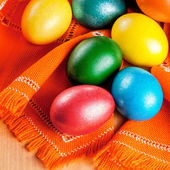 Easter eggs on the napkin — Stock Photo