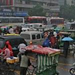 Traffic jam in rainy day on crossroads, Chengdu — Stock Photo #9250747