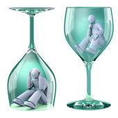 Man in glass, alcoholism as a trap — Stock Photo