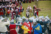 Army of knights at at Battle of Grunwald reenactment — Stock Photo