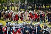 Battle of Grunwald - Teutons against Poles at the 601th anniversary — Stock Photo