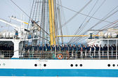 Crew members of tall ship MIR — Stock Photo