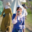 Stock Photo: Medieval fashion, middle ages womhaving drink