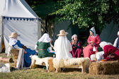 Medieval women sitting and chatting in the camp — Stock Photo