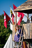 Medieval woman resting in the guard-house — Stock Photo
