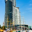 Gdynia City, Sea Towers, sailboats and motorboats — Stock Photo