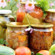 Stock Photo: Home canning, canned vegetables