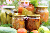Home canning, canned vegetables — Stock Photo