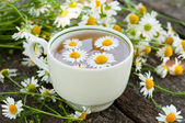 Herbal tea of chamomile flowers — Stock Photo