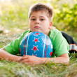The boy with the ball on the nature — Stock Photo
