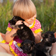 Little girl playing with puppies — Stock Photo