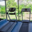 Fitness room with views of nature — Stock Photo