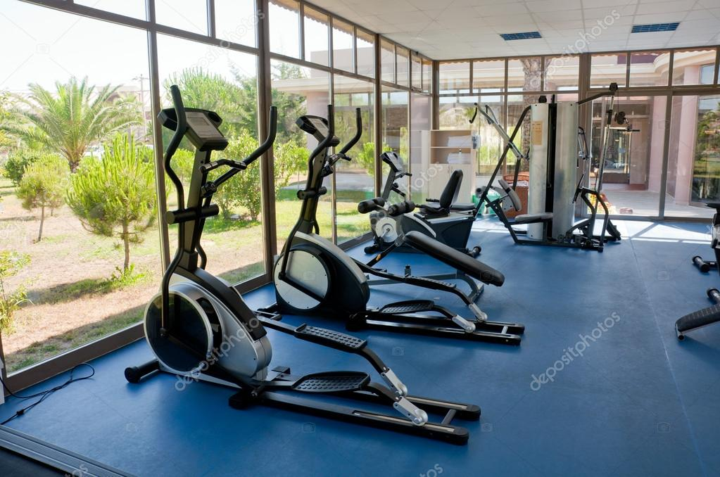 Fitness room with views of nature  Stock Photo #13510715