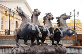 Fountain with horses at the Manege. Moscow, Russia — Stock Photo