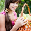 Teen girl with a basket of apples — Stock Photo #16217827