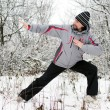 Royalty-Free Stock Photo: A man goes in for sports in winter outdoors