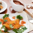Chicken breast in breadcrumbs — Stock Photo