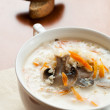 Mushroom soup with cream — Stock Photo
