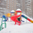 Playground structure during a snowfall, Moscow, Russia — Stock Photo #21781013