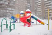 Playground structure during a snowfall, Moscow, Russia — Stock Photo