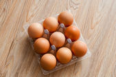 Brown chicken egg packaging — Stock Photo