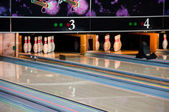 Bowling lanes with pins — Stock Photo