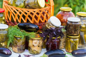 Home canning, canned vegetables outdoors — Stock Photo