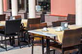 Empty cafe tables outdoors — Stock Photo