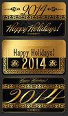 Happy New Year 2014 vector design — Stock Vector