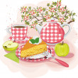 Tea with apple pie - Stock Vector