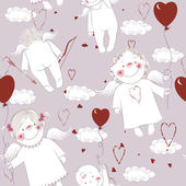 Seamless pattern with angels — Vecteur