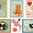 Valentine's day stamps collection — Stock Vector #38248605