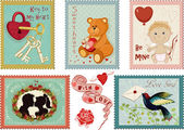 Valentine's day stamps collection — Stock Vector