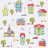 Pattern with colorful houses — Stock Vector