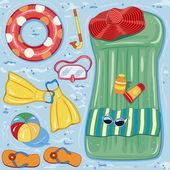Beach accessories — Stock Vector