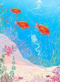 Deep underwater — Stock Vector