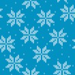 Stock Vector: Snowflakes on knitted background
