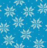 Snowflakes on knitted background — Stock Vector