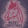 Knitted background with image a horse. Merry Christmas — Stock Vector