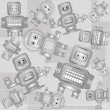 Royalty-Free Stock Vector Image: Retro robots seamless pattern