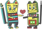 Iki sevimli kedi robot aşık — Stok Vektör