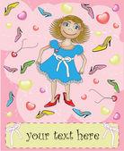 Kaart met meisje in grote schoenen — Stockvector