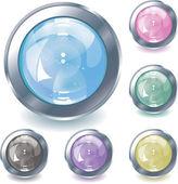 Collection de six boutons brillant eps 10 — Vecteur