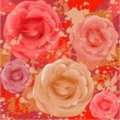 Grunge seamless rose pattern — Stock Vector