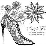Ornamental high heel shoe — Stock Vector