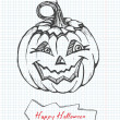 Vector de stock : Sketchy Happy Halloween Pumpkin Card