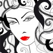 Stock Vector: Glamour girl with red lips