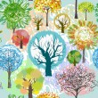 Abstract trees - four seasons, hand drawing. — Stock Vector