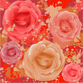 Grunge seamless rose pattern — Stock Vector
