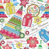 Weihnachten und neujahr nahtlose muster — Stockvektor